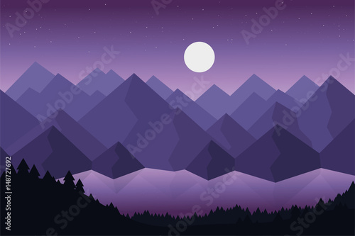 Spoed Foto op Canvas Violet Cartoon vector illustration of mountain landscape with lake or river behind dense forests under dramatic violet sky with stars and moon with reflection on the surface