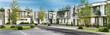 Leinwanddruck Bild - Street with modern houses