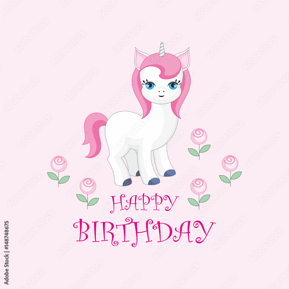 Happy Birthday Greeting Card With The Image Of Cute Unicorn Foto Poster Wandbilder Bei EuroPosters