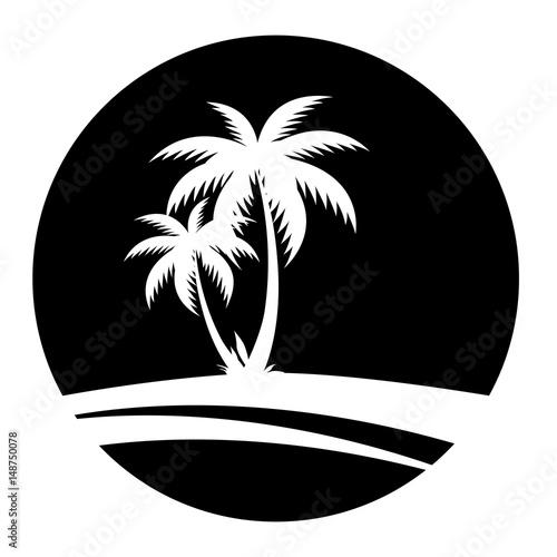 Sommer - Icon mit Palmen (in Schwarz) Wall mural