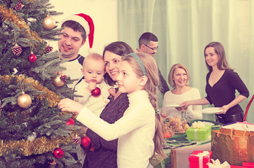 Big family preparing for Christmas