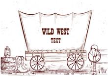 Wild West Wagon.Vector Illustr...
