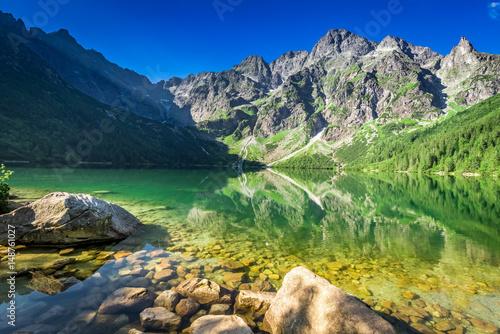Zdjęcie XXL Jezioro w górach przy wschodem słońca, Polska, Europa