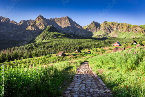 Fototapety, obrazy: Trail in Tatras leading to a small village, Poland, Europe