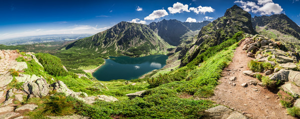 Obraz na płótnie Canvas Panorama of Czarny Staw Gasienicowy in Tatra Mountains, Poland, Europe