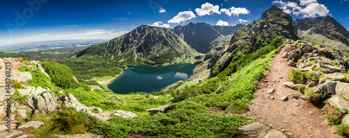 Fototapeta Panorama of Czarny Staw Gasienicowy in Tatra Mountains, Poland, Europe obraz