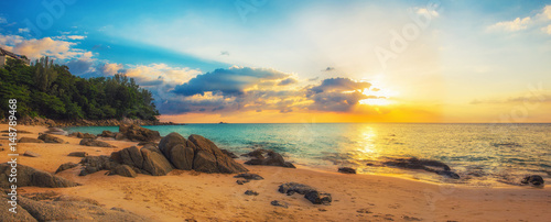 Poster Mer coucher du soleil Panorama of Naithon sea beach at sunset