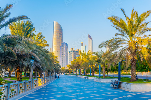 View of the corniche - promenade in Abu Dhabi, UAE