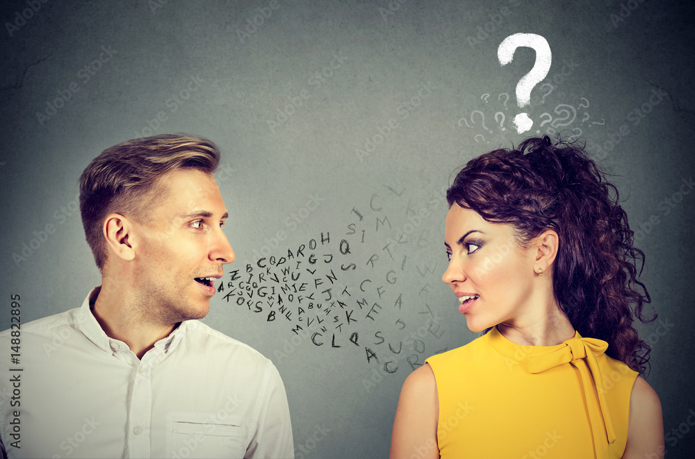 Fototapeta Man talking to an attractive woman with question mark