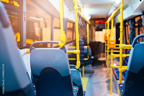 Modern city bus interior and seats Canvas Print