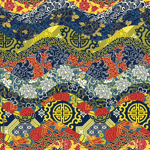 Tela  Chinese style waves patchwork  seamless pattern