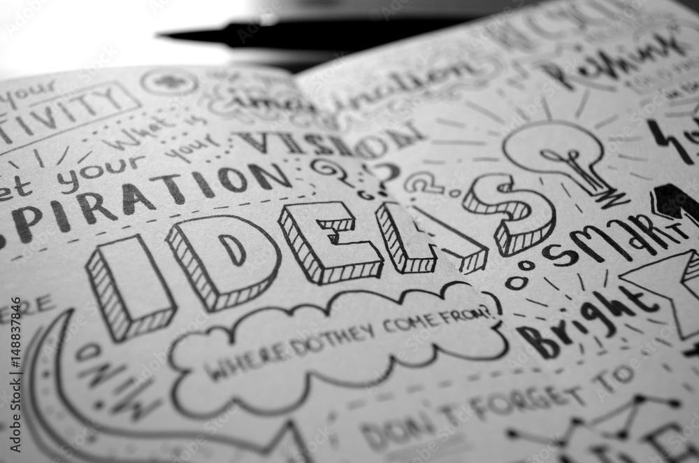 Fototapety, obrazy: Handwritten Sketch Notes IDEAS
