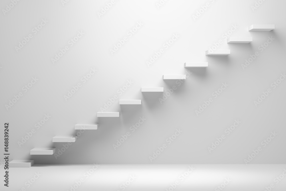 Fototapety, obrazy: Ascending stairs abstract white 3d illustration