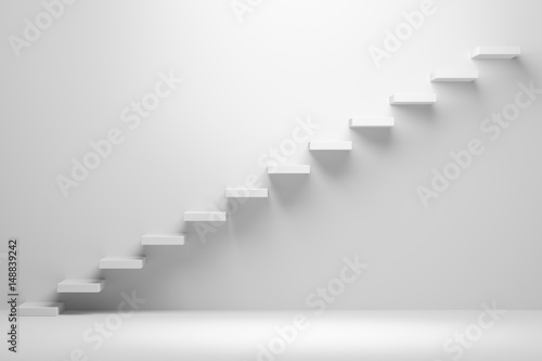 Ascending stairs abstract white 3d illustration Canvas Print