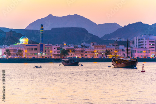 Fotografie, Obraz  View of coastline of Muttrah district of Muscat during sunset, Oman