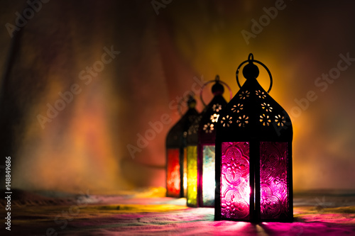 Eid Mubarak Ramadan Kareem - islamic muslim holiday background with eid lantern or lamp