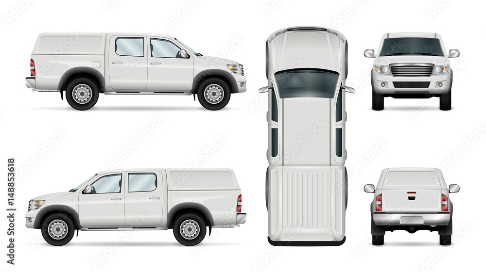 Fototapety, obrazy: Pickup truck vector template for car branding and advertising. Isolated car on white background. All layers and groups well organized for easy editing and recolor. View from side, front, back, top.