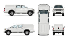 Pickup Truck Vector Template For Car Branding And Advertising. Isolated Car On White Background. All Layers And Groups Well Organized For Easy Editing And Recolor. View From Side, Front, Back, Top.