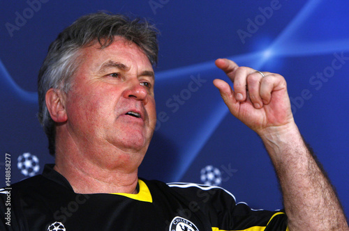 Chelsea Manager Guus Hiddink Attends A News Conference At Stamford Bridge In London