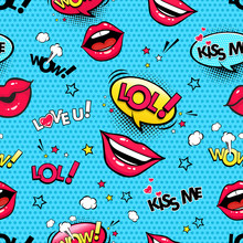 Comic Speech Bubbles And Female Lips With Different Emotions And Text Wow, Lol, Kiss Me, Love You, Stars, Hearts And Clouds. Vector Colorful Funny Comic Seamless Pattern In Pop Art Retro Style.