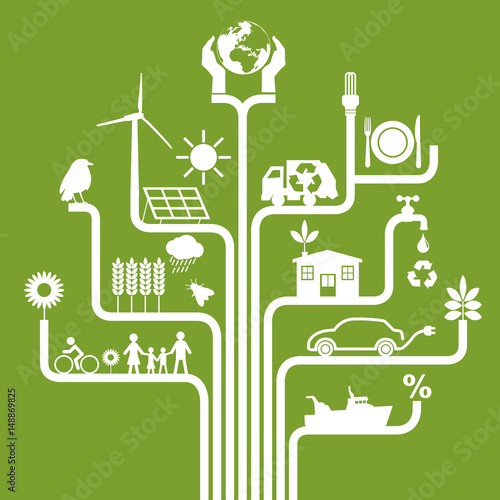 Fotografie, Obraz  Environnement - énergie renouvelable - développement durable - écologie, recycle