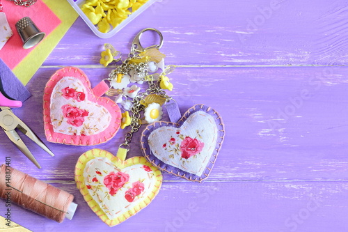 a5ecfab7d1a Cute hearts keychain with flowers beads. Hand felt and fabric ...