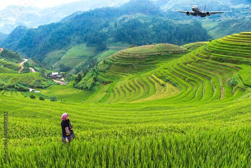 Garden Poster Rice fields Rice fields on terraced of Mu Cang Chai, YenBai, Vietnam, soft focus