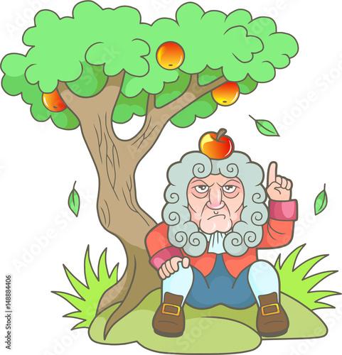 Fotografie, Obraz  Cartoon Newton sits under the apple tree