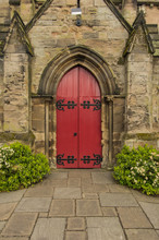 Old Red Church Door