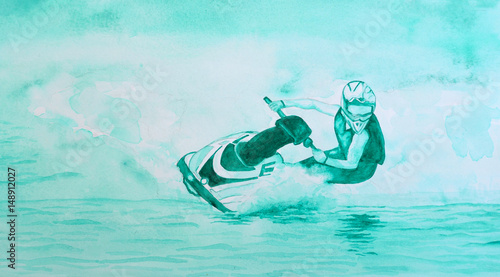 Poster Nautique motorise Watercolor painting of Jet ski Competitor painted in