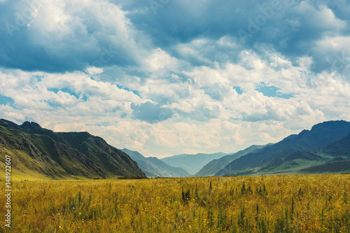 Foto op Aluminium Nachtblauw Prairie among the mountains. The valley is far away in the blue mountains. Natural Landscapes.