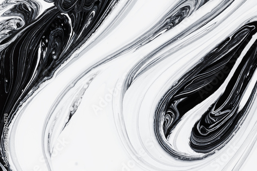 obraz lub plakat abstract background, white and black mineral oil paint on water