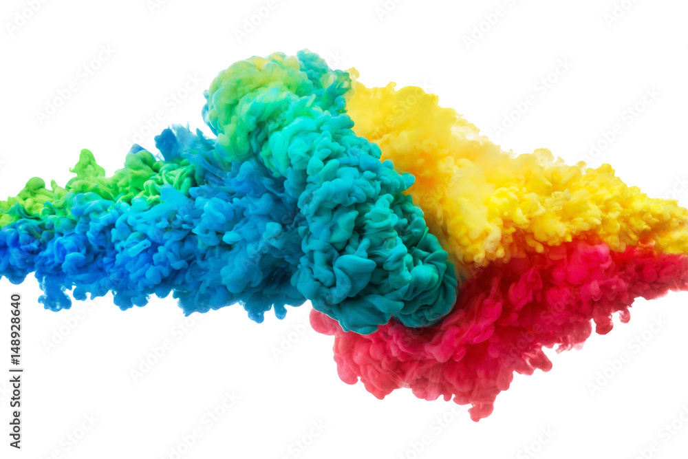 Fototapeta Colorful acrylic ink in water isolated on white. Abstract background. Color explosion