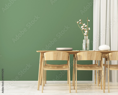 Fotografía  Interior of  Dining room with green wall