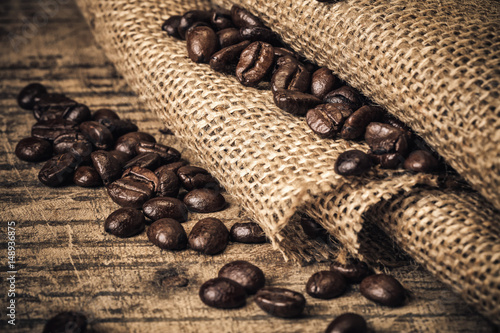 Foto op Canvas Koffiebonen Grains de café