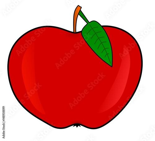 Czerwone jabłko z liściem