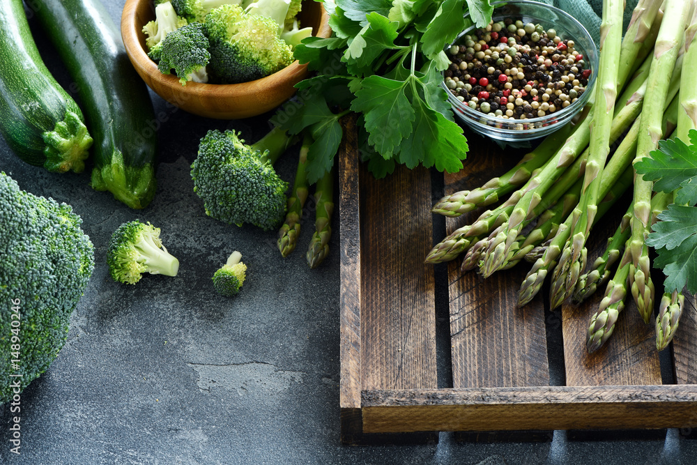 Fototapety, obrazy: Green vegetables for healthy cooking, harvest or diet concept, asparagus, zucchini, broccoli, vegan eating