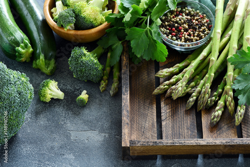 Photo  Green vegetables for healthy cooking, harvest or diet concept, asparagus, zucchi