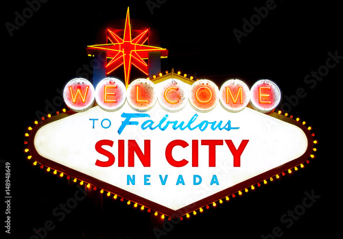 Tuinposter Las Vegas Welcome to Sin City (Las Vegas), Nevada, USA