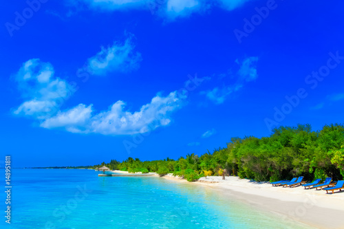 Poster Dark blue Dreamscape Escape On Maldives