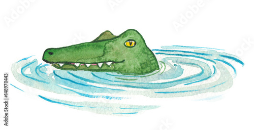 Green cartoon crocodile head emerging from water painted in watercolor on clean white background