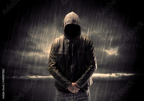Stampa su Tela Anonymous terrorist in hoodie at night