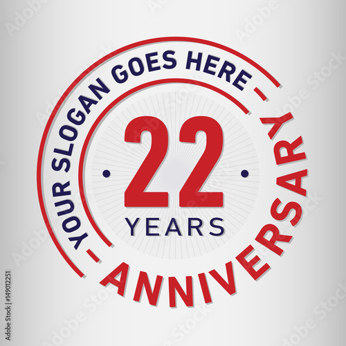 Fotografia  22 years anniversary logo template. Vector and illustration.