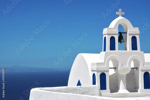 Fototapeta Bell tower on Santorini, Greece obraz
