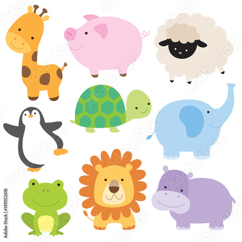 Photo Vector illustration of cute baby animal including giraffe, pig, turtle, sheep, penguin, elephant, frog, lion and hippo