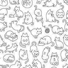 Cat Outline Seamless Vector Pa...