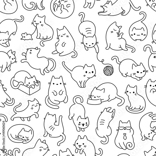 obraz PCV Cat Outline Seamless Vector Pattern