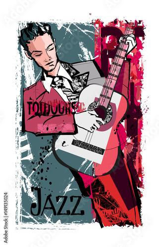 Tuinposter Art Studio Man playing guitar over a grunge background