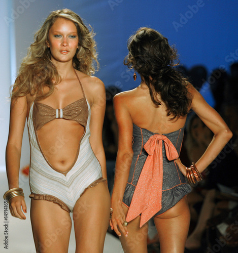 Models Show Swimwear Outfits From The Collection Of Ashley Paige During Mercedes Benz Fashion Week