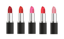 Set Of Vector Realistic Lipsticks With Different Shades Isolated On White Background